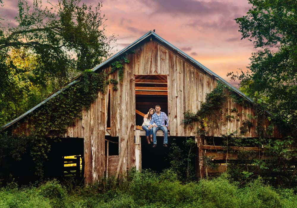 rustic barn engagement photographer