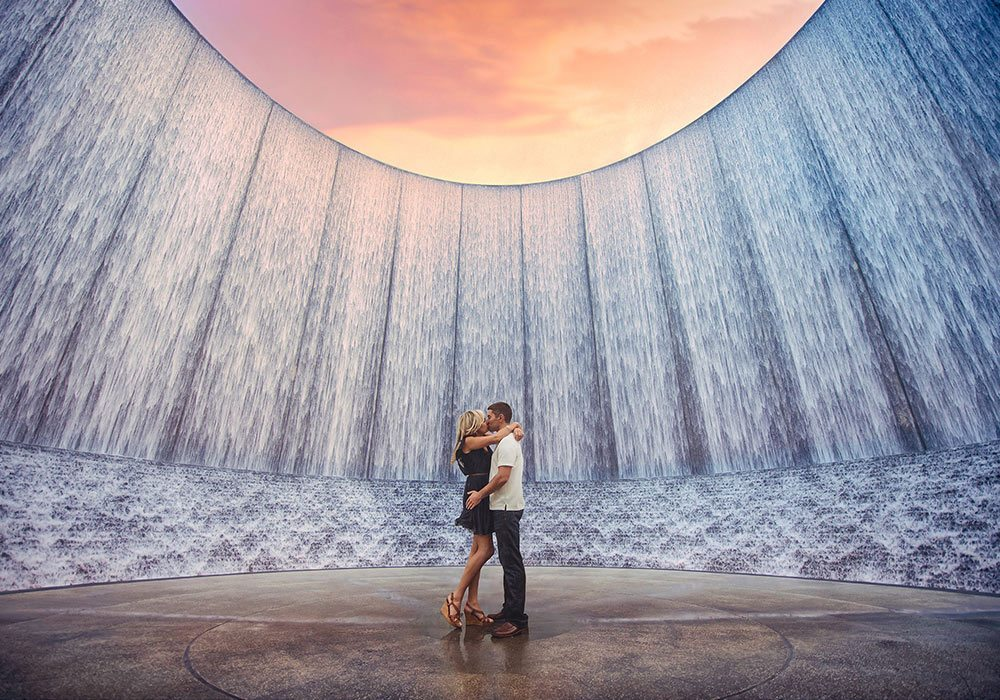 Houston Waterwall Engagement Photographer