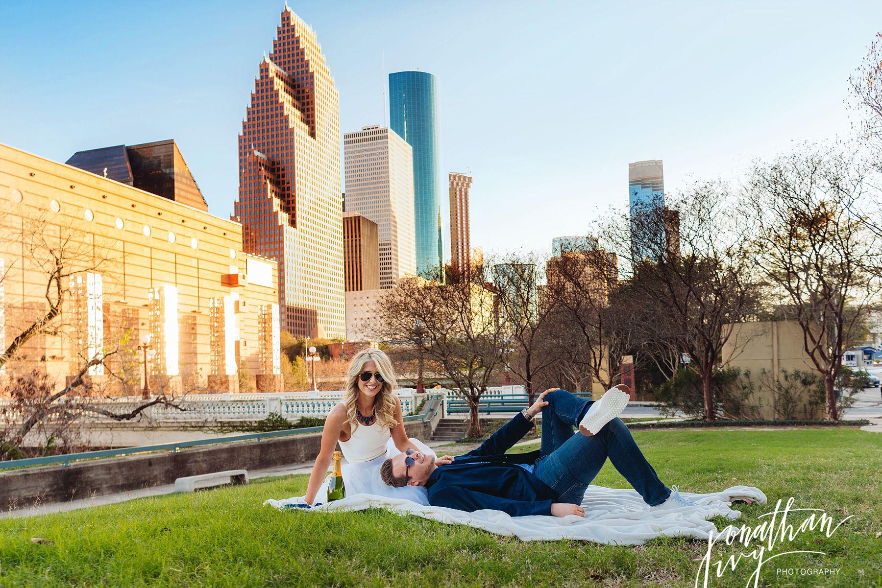 Downtown Houston Engagement Photographer Houston Skyline