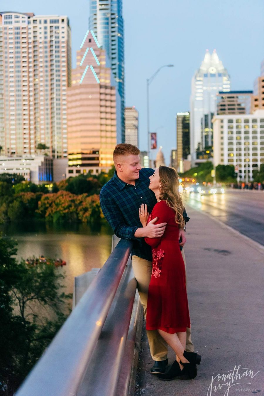 South Congress Bridge Engagement Photos Austin Skyline Sunset Engagement